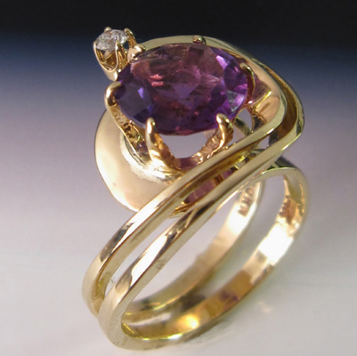 Edit 14k Gold Ring with Amethyst, Diamond