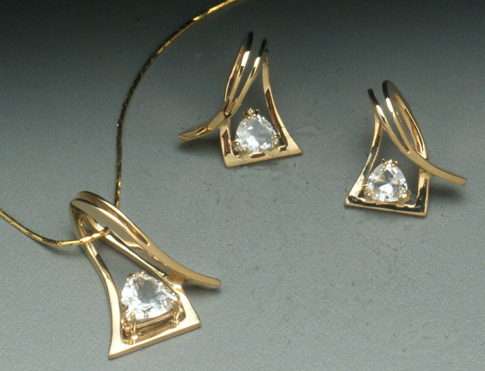 Edited 14k Gold Slider and Earrings with Topaz