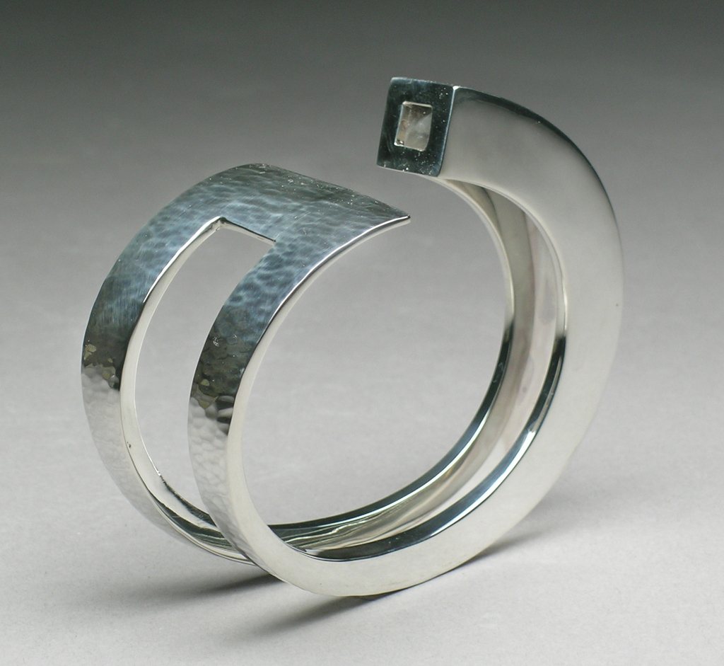 Web1 Sterling Silver Bracelet with Hammered Texture