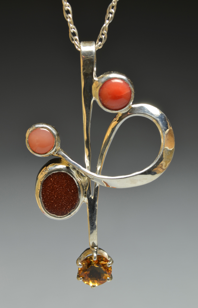Web1 Sterling Silver Pendant with Corals, Goldstone, Citrine