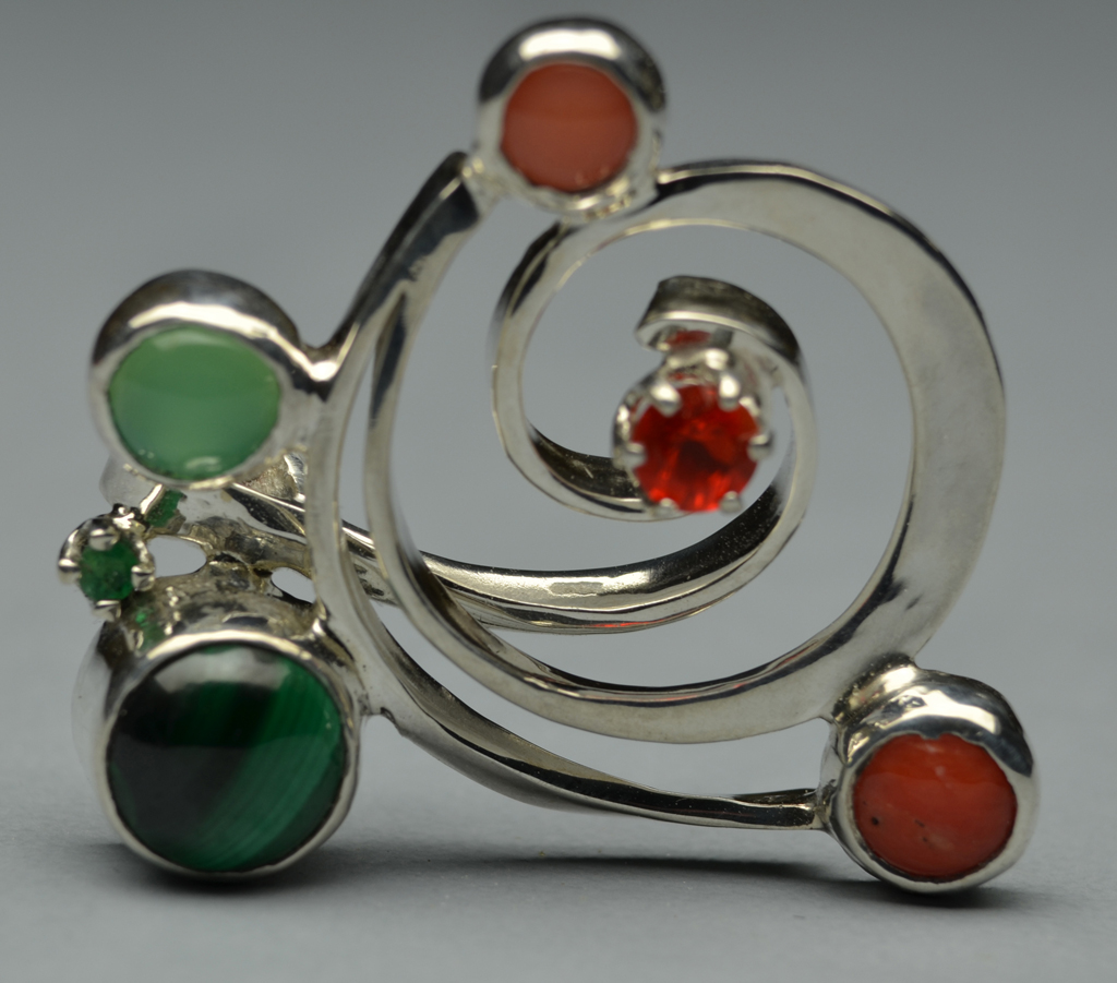 Web1 Sterling Silver Pin with Malachite, Opal, Chrysoprase, Emerald, Corals,