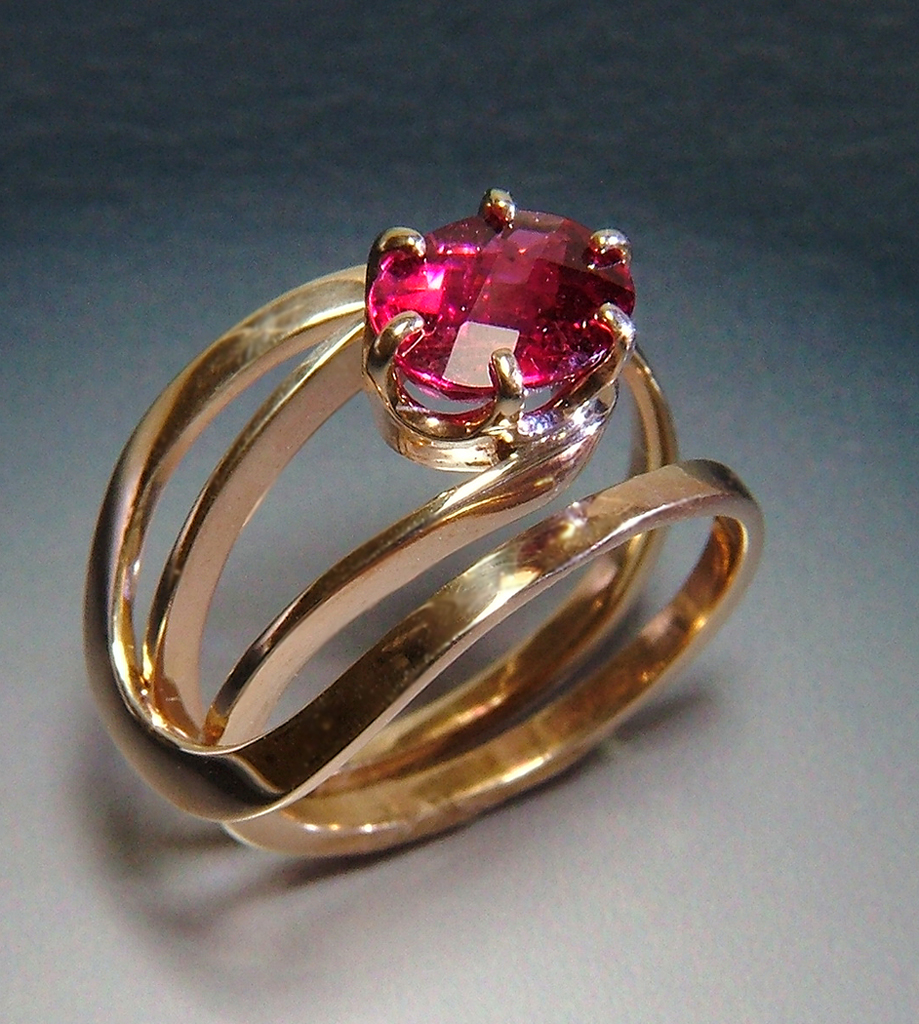 Web3 14k Gold Ring with Rubellite  Tourmaline