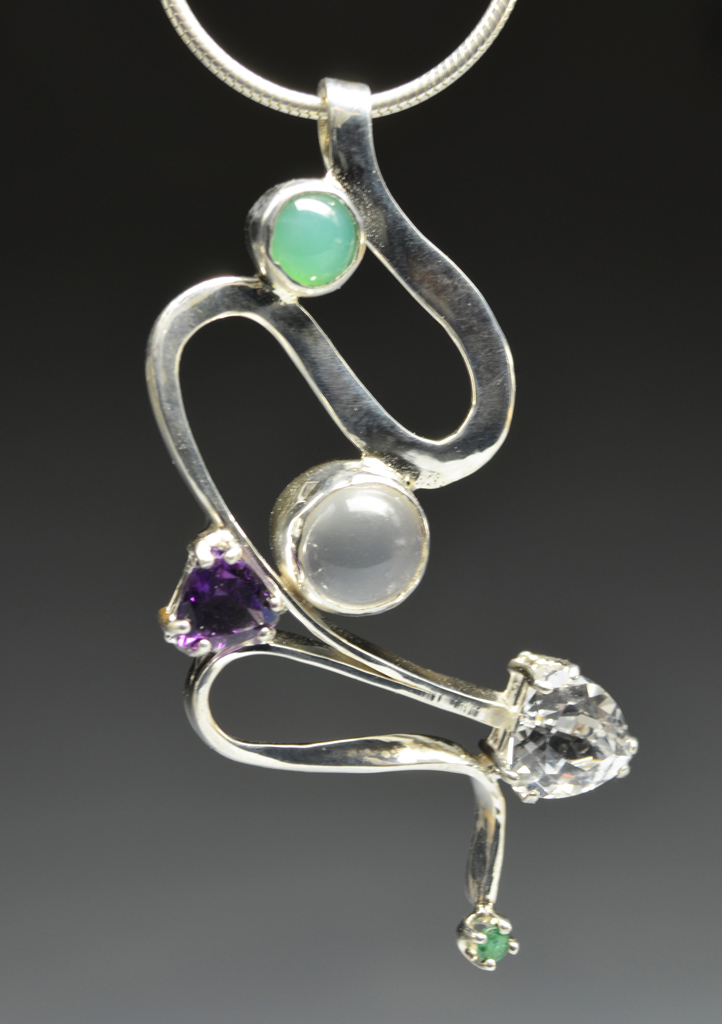 Web5 Sterling Silver Pendant with Moonstone,  Topaz,  Chrysoprase, Amethyst, Emerald