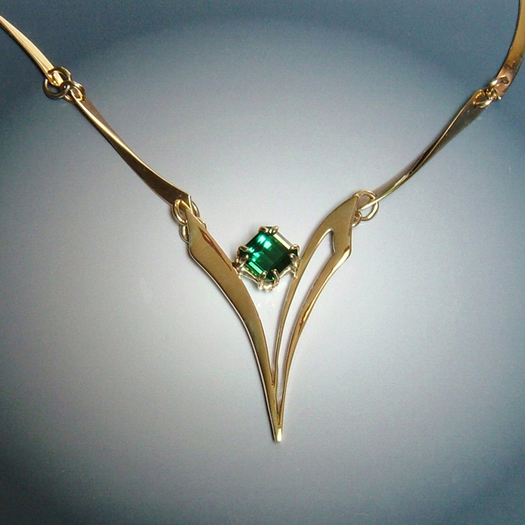 Edit 14k Gold Necklace with Tourmaline