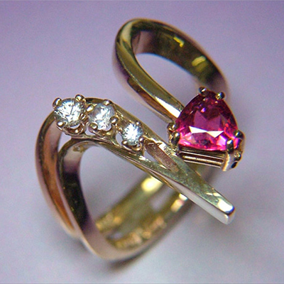 Edit 14k Gold Ring with Tourmaline and Sapphires