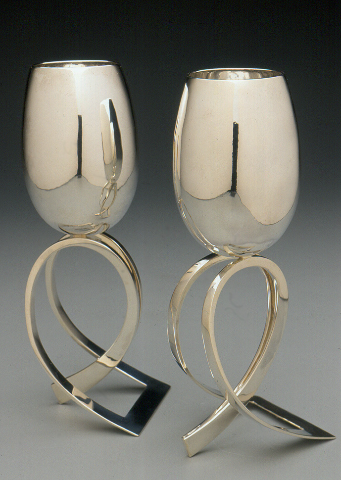 Edited Sterling Silver 'Raised' Cups 9x4x3 inches