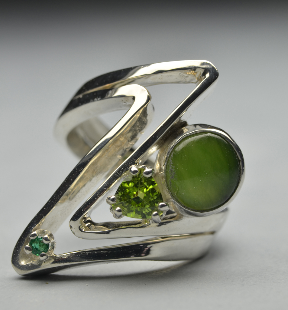 Web1 Sterling Silver Ring with Jade, Peridot, Emerald