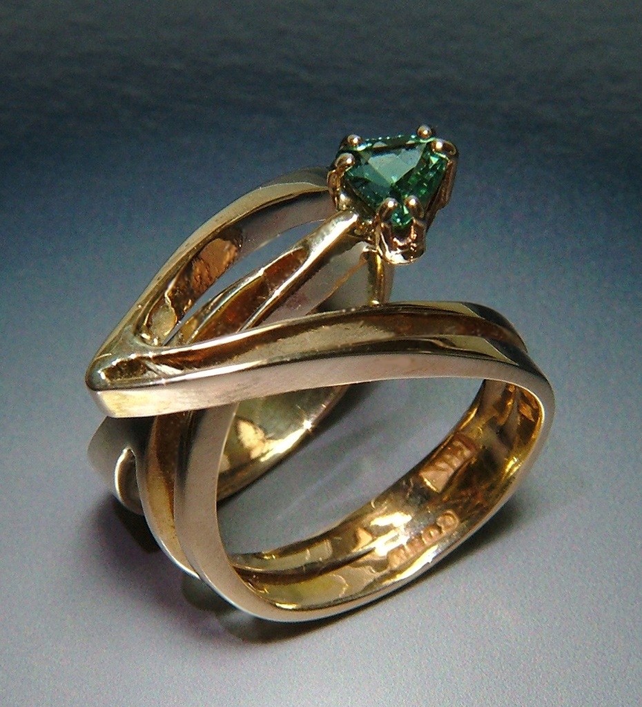 Web2 14k Gold Ring with Tourmaline