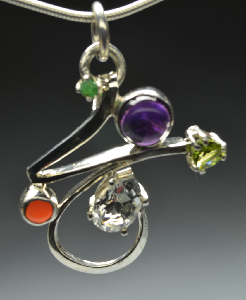 Web2 Sterling Silver Pendant with Amethyst, Peridot, Emerald, Coral, Topaz