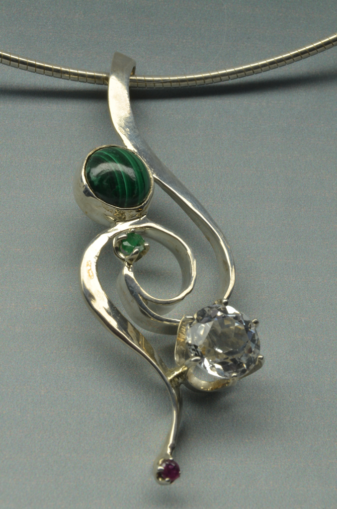 Sterling Silver Pendant with Malachite, Topaz, Emerald and Ruby