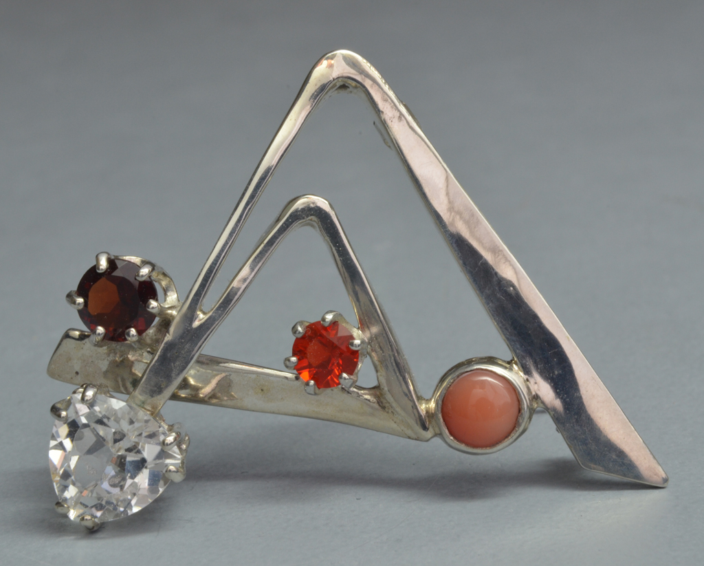 Sterling Silver Pin with Topaz, Garnet, Coral and Opal