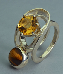 Sterling Silver Ring with Citrine and Tigereye