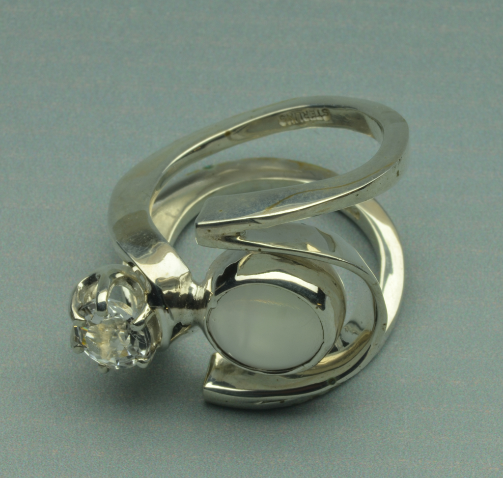 Sterling Silver Ring with Moonstone and Topaz
