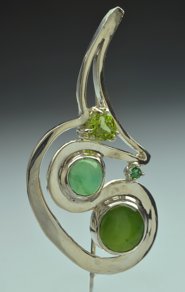 Sterling Silver Stickpin with Aventurine, Chrysoprase, Peridot and Emerald