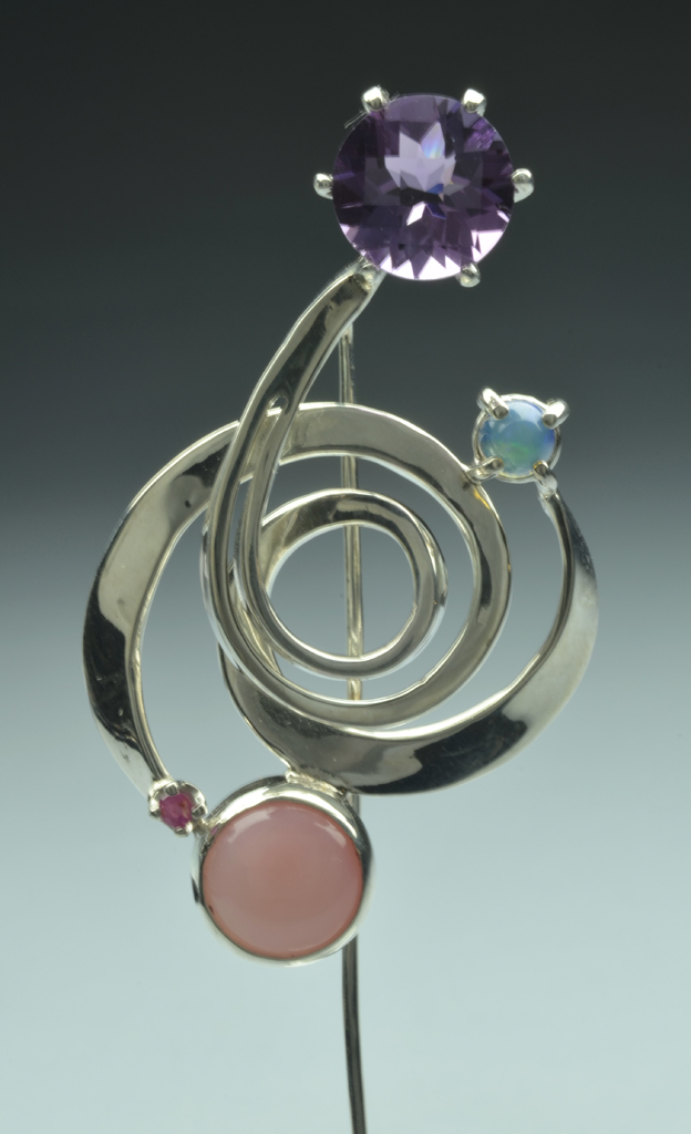 Sterling Silver Stickpin with Opals, Amethyst and Ruby
